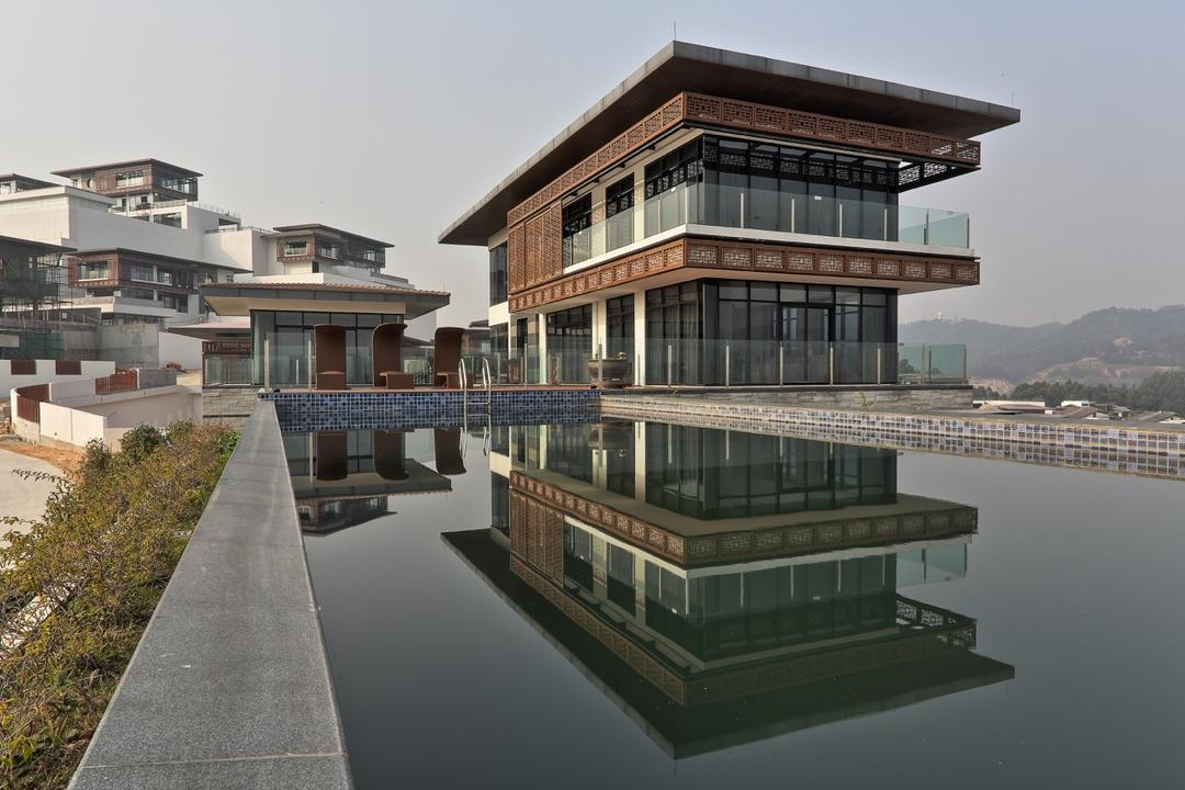 Nanhu Golf Villa, EZRA Architects, Traditional, Landed, Exterior, External View, Pond, Tiles, Fence, Flora, Hedge, Plant, Building, Housing