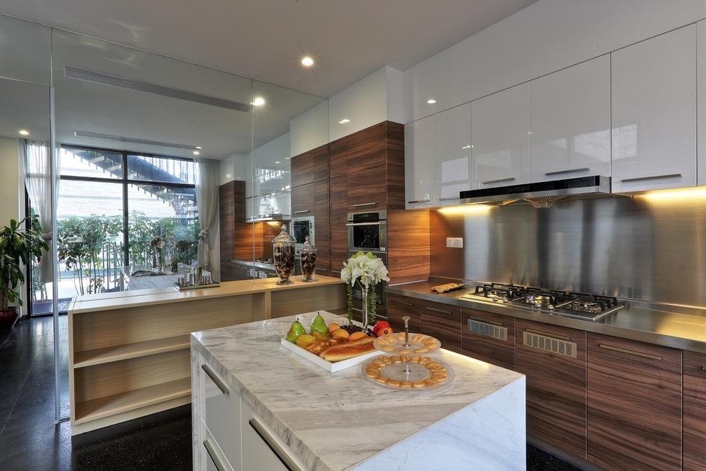 Traditional, Landed, Kitchen, Nanhu Golf Villa, Architect, EZRA Architects, Full Length Glass Window, Wood Laminate, Island, Marble Counter, Marble Table Top, Kitche Cabinet, White Cabinet, Indoors, Interior Design, Room, Buffet, Cafeteria, Food, Meal, Restaurant, Dining Table, Furniture, Table, Sink