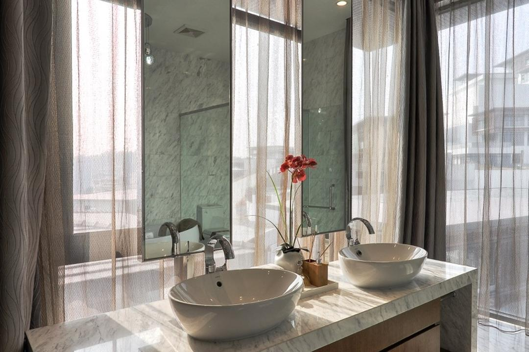 Nanhu Golf Villa, EZRA Architects, Traditional, Bathroom, Landed, Vanity, Marble Top, Long Mirror, Curtain, Marble Foor, Marble Flooring, Marble Tiles, Potted Plant, Marble Vanity, Sink, Indoors, Interior Design, Room