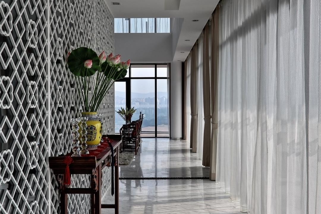 Nanhu Golf Villa, EZRA Architects, Traditional, Landed, Marble Flooring, Marble Tiles, Decorative Panels, Wooden Display Cabinet, Display Shelf, Curtain, False Ceiling, Recessed Lighting, Full Length Window, Flora, Jar, Plant, Potted Plant, Pottery, Vase