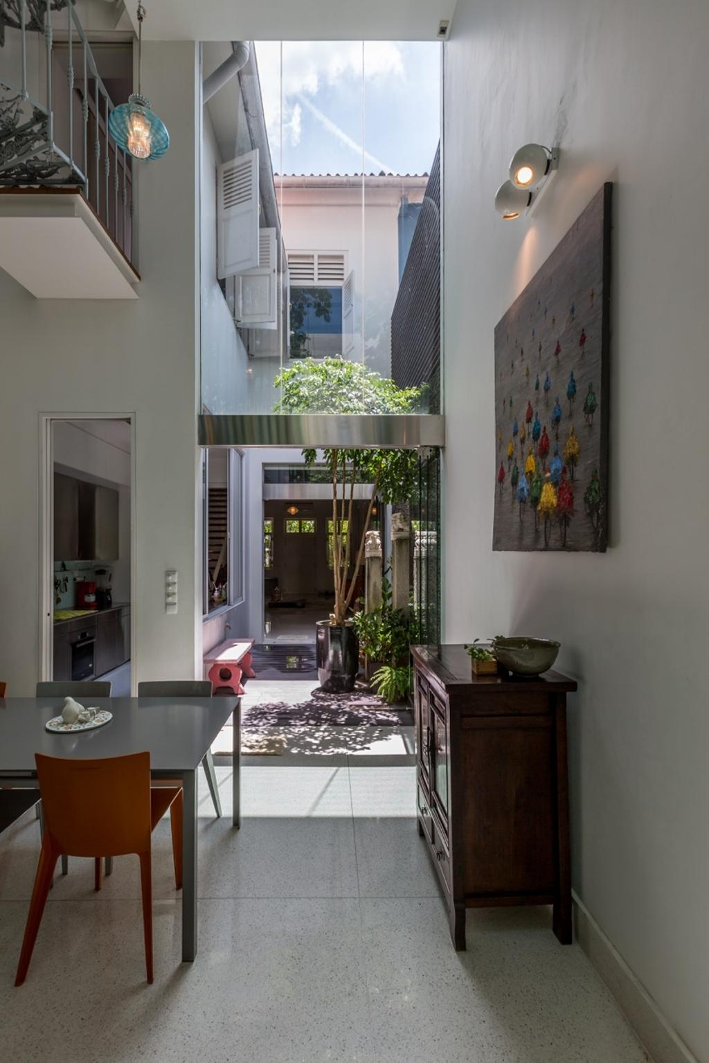 Contemporary, Landed, Dining Room, Onan Road, Architect, EZRA Architects, Wallart, Wall Art, Wooden Display Cabinet, Hanging Light, Pendant Light, Red Dining Chair, Full Length Glass Window, Flora, Jar, Plant, Potted Plant, Pottery, Vase