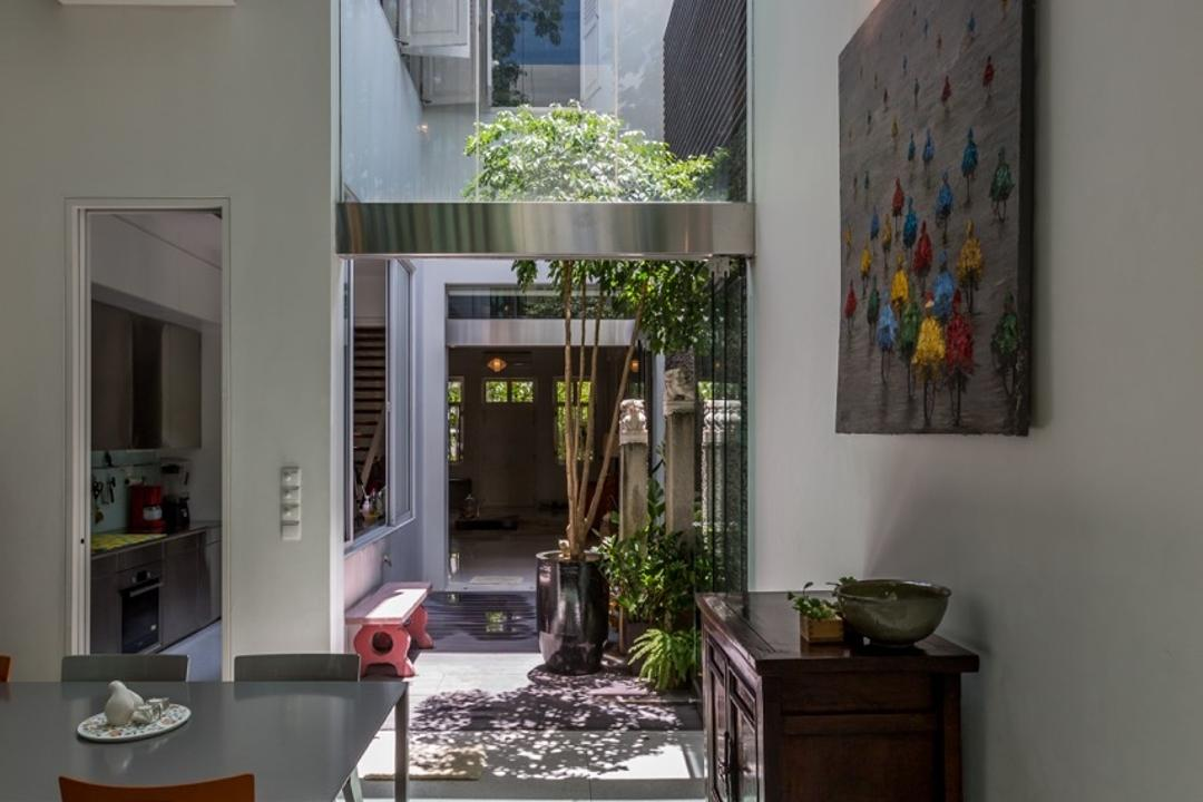 Onan Road, EZRA Architects, Contemporary, Dining Room, Landed, Wallart, Wall Art, Wooden Display Cabinet, Hanging Light, Pendant Light, Red Dining Chair, Full Length Glass Window, Flora, Jar, Plant, Potted Plant, Pottery, Vase
