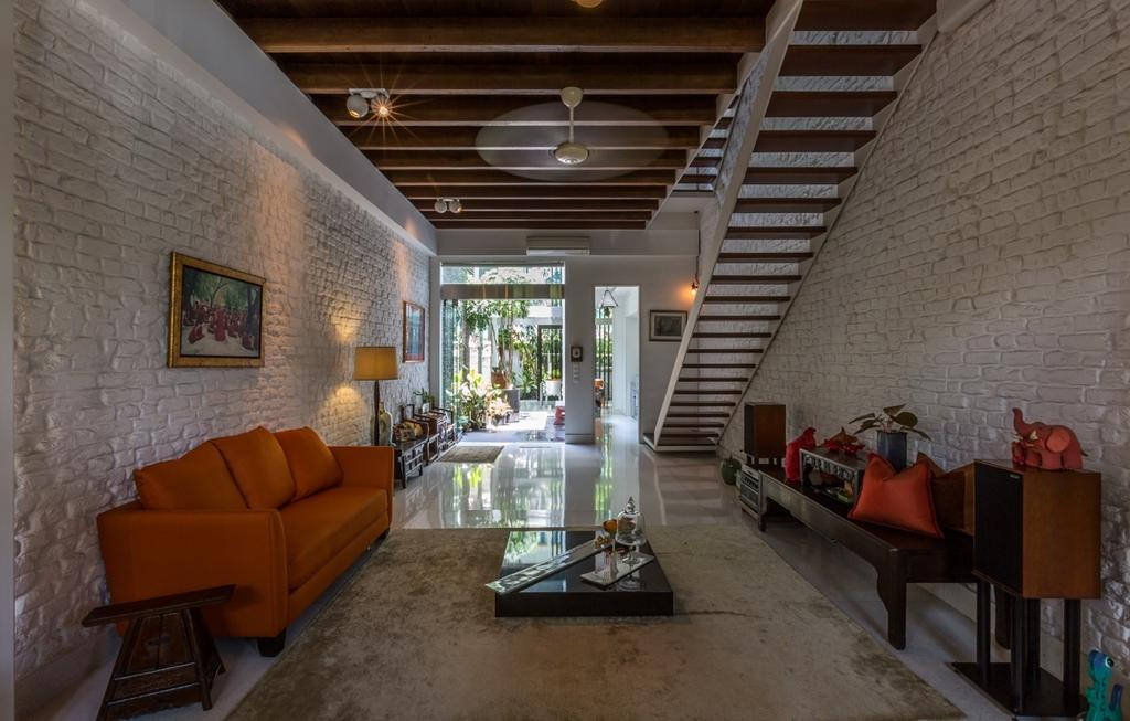 Contemporary, Landed, Living Room, Onan Road, Architect, EZRA Architects, Brick Wall, Wallart, Wall Art, Red Sofa, Wooden Ceiling, Spotlight, Standing Lamp, Wooden Table, Wooden Stairs, Wooden Side Table, Couch, Furniture, HDB, Building, Housing, Indoors, Loft, Chair