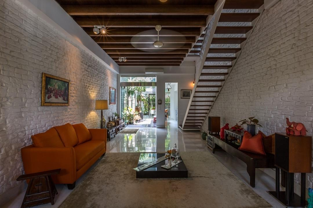 Onan Road, EZRA Architects, Contemporary, Living Room, Landed, Brick Wall, Wallart, Wall Art, Red Sofa, Wooden Ceiling, Spotlight, Standing Lamp, Wooden Table, Wooden Stairs, Wooden Side Table, Couch, Furniture, HDB, Building, Housing, Indoors, Loft, Chair
