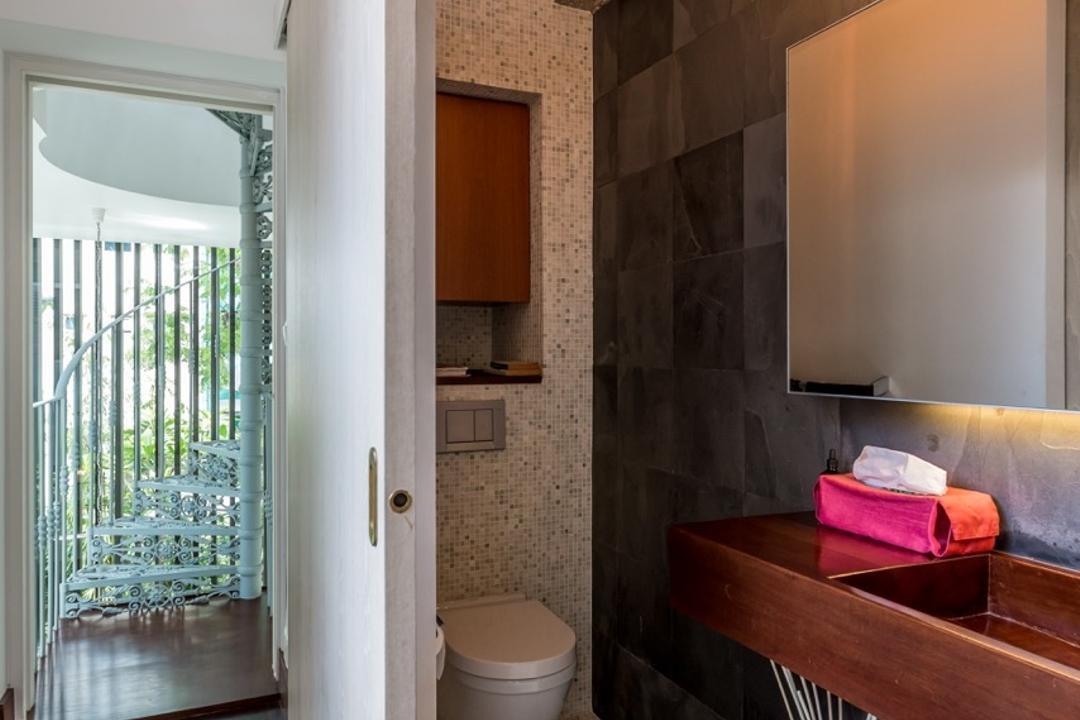 Onan Road, EZRA Architects, Contemporary, Bathroom, Landed, Mosaic Tiles, Vanity, Wooden Counter Top, Hanging Light, Pendant Light, Wooden Flooring, Bathroom Tiles, Mosaic, Spiral Stairs, Spiral Staircas, Toilet, Tile, HDB, Building, Housing, Indoors