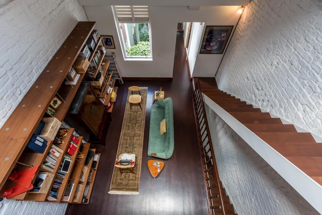 Onan Road, EZRA Architects, Contemporary, Living Room, Landed, Brick Wall, Wooden Furniture, Wooden Bookshelf, Wooden Book Shelf, Wooden Flooring, Wooden Stairs, Staircase, Carpet, Rug, Turquoise Sofa, Blue Sofa, Banister, Handrail, Bookcase, Furniture