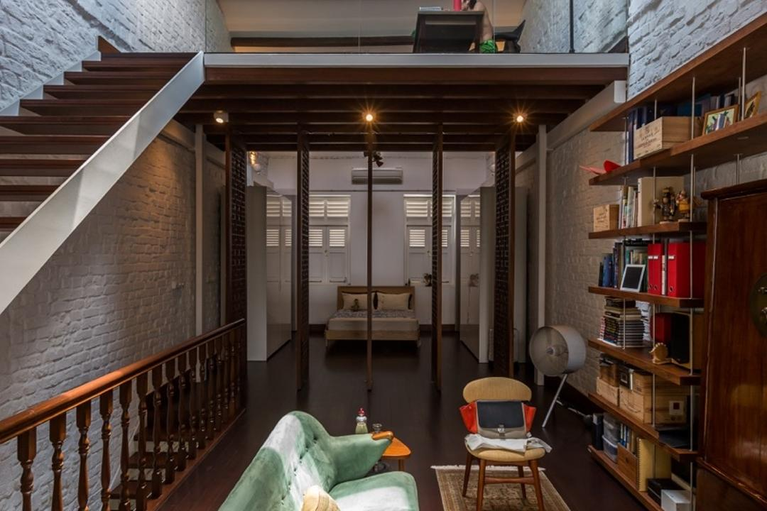 Onan Road, EZRA Architects, Contemporary, Living Room, Landed, Wooden Flooring, Long Rug, Long Carpet, Blue Sofa, Turquoise Sofa, Brick Wall, Wooden Bookshelf, Wooden Ceiling, Banister, Handrail, Staircase, Shelf, Bookcase, Furniture