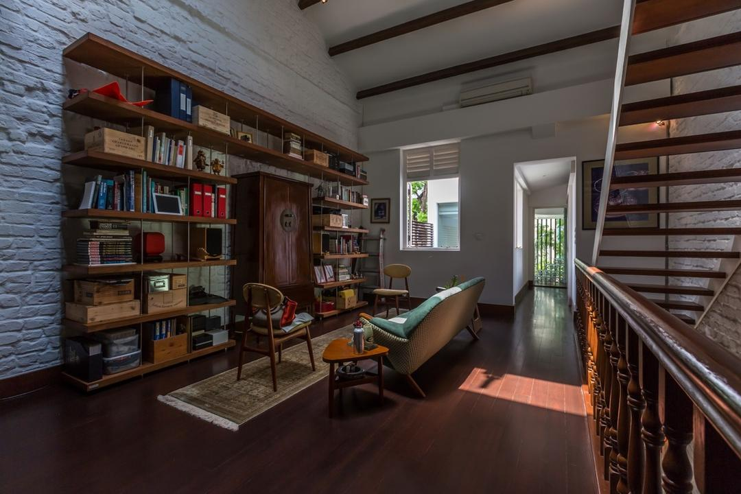 Onan Road, EZRA Architects, Contemporary, Living Room, Landed, Bookshelf, Book Shelf, Wooden Bookshelf, Wooden Stairs, Wooden Staircase, Wooden Flooring, Long Carpet, Long Rug, Brick Wall, Couch, Furniture, Indoors, Interior Design, Library, Room, Bookcase