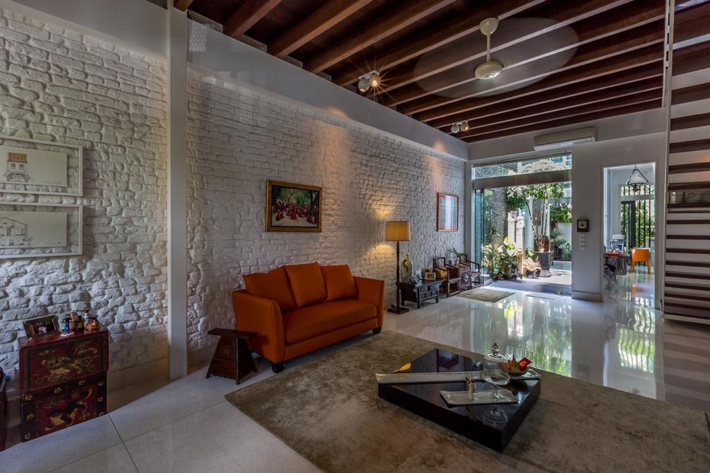 Contemporary, Landed, Living Room, Onan Road, Architect, EZRA Architects, Brick Wall, Wallart, Wall Art, Standing Lamp, Red Sofa, Wall Frames, Wooden Ceiling, Wooden Coffee Table, HDB, Building, Housing, Indoors, Loft, Couch, Furniture, Coffee Table, Table, Porch