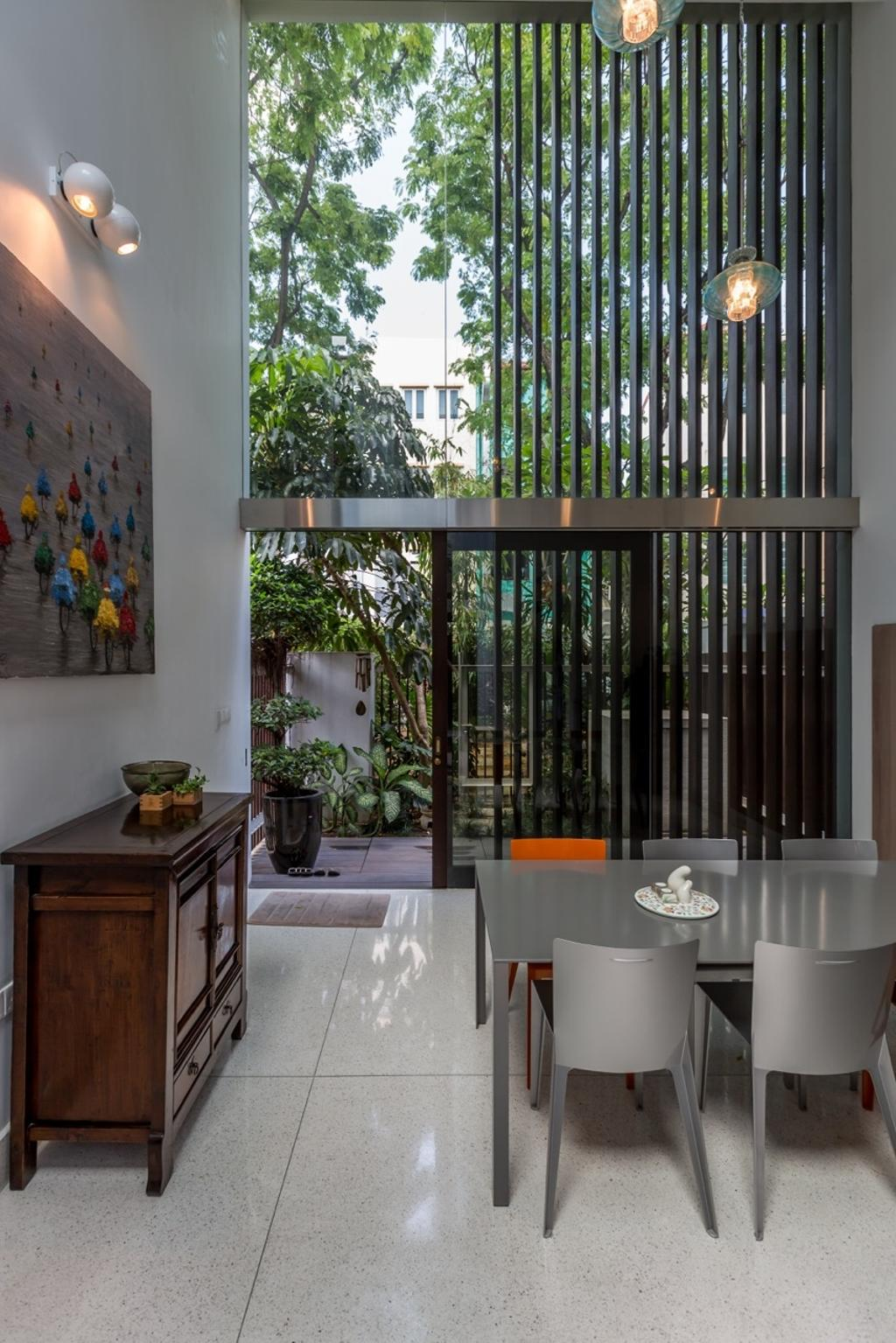Contemporary, Landed, Dining Room, Onan Road, Architect, EZRA Architects, Hanging Light, Pendant Light, Wallart, Wall Art, Painting, Wooden Display Cabinet, Dining Table, Full Length Glass Window, Flora, Jar, Plant, Potted Plant, Pottery, Vase, Bonsai, Tree