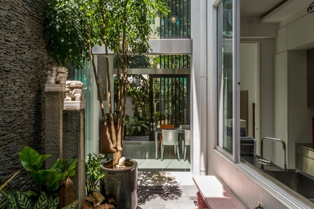 Onan Road, EZRA Architects, Contemporary, Garden, Landed, Wooden Planks, Exterior, Potted Plants, Stone Wall, Stone Bench, Garden Bench, Wooden Flooring, Flora, Jar, Plant, Potted Plant, Pottery, Vase, Bonsai, Tree
