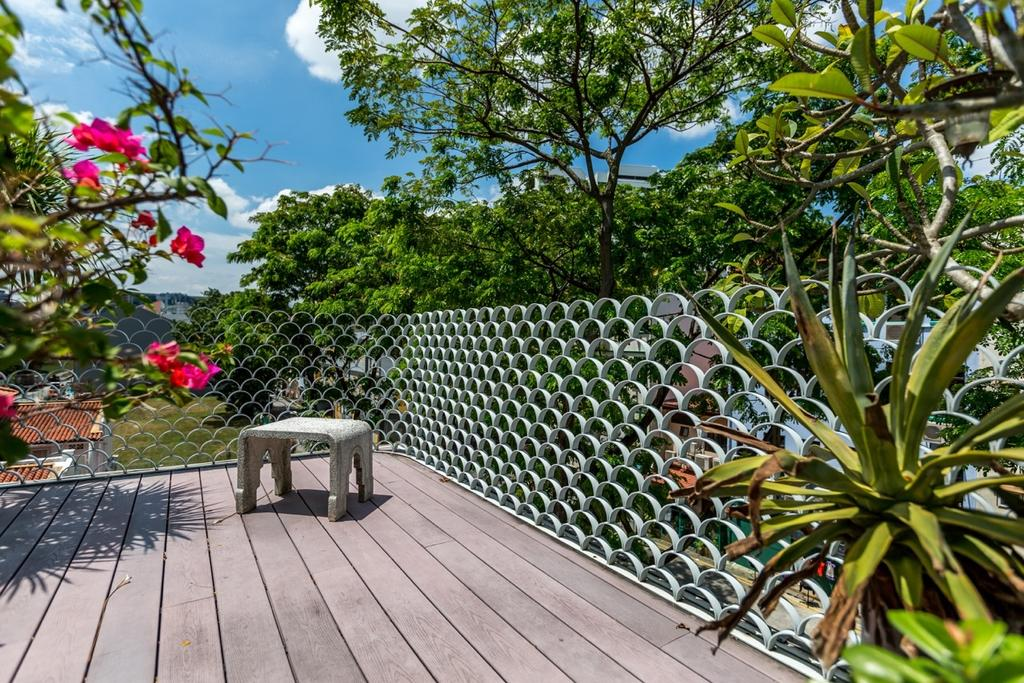 Contemporary, Landed, Garden, Onan Road, Architect, EZRA Architects, Wooden Planks, Wooden Flooring, Potted Plants, Plant, Flora, Jar, Potted Plant, Pottery, Vase