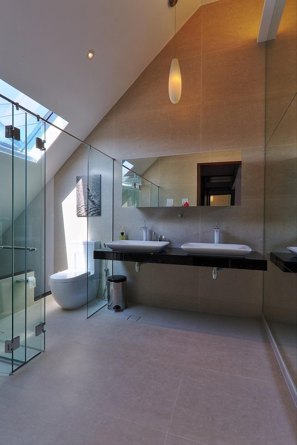 Modern, Landed, Bathroom, Siglap Rise, Architect, EZRA Architects, Hanging Light, Pendant Light, Glass Door, Glass Shower Door, Bathroom Tiles, Double Sink, Wallart, Wall Art, Indoors, Interior Design, Room, Bathtub, Tub