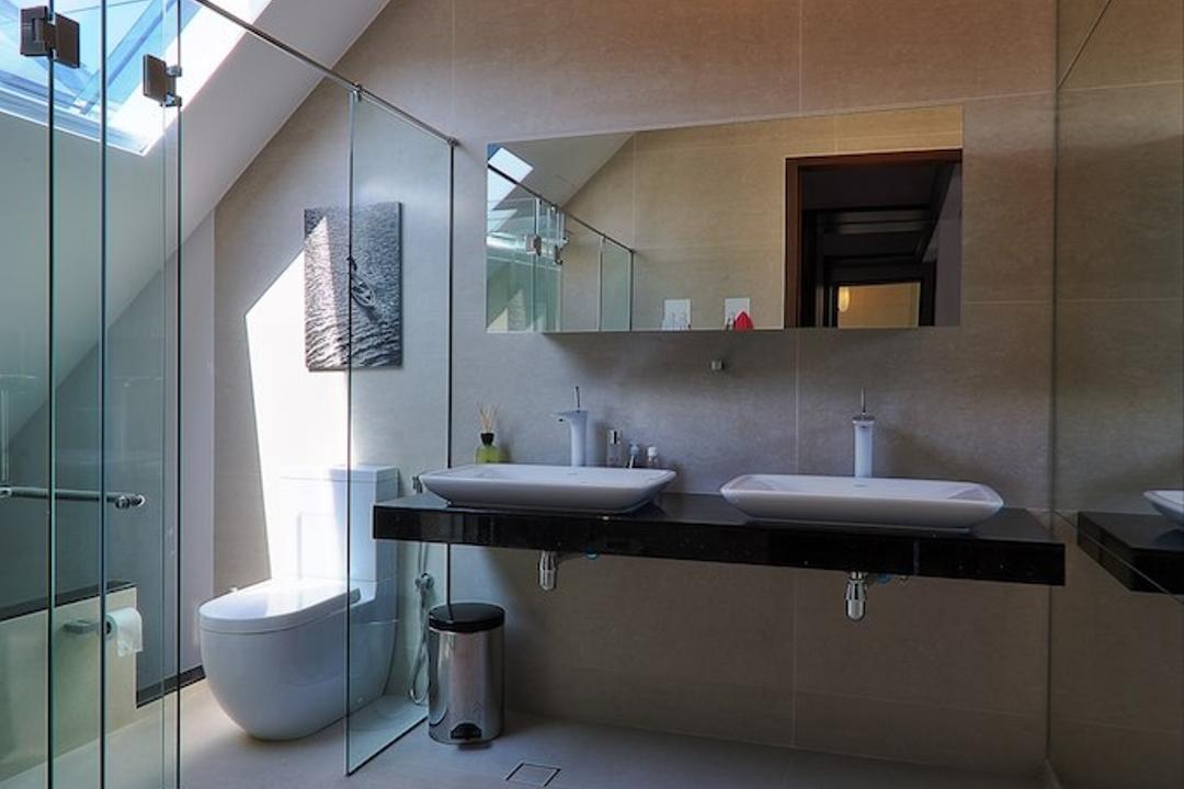 Siglap Rise, EZRA Architects, Modern, Bathroom, Landed, Hanging Light, Pendant Light, Glass Door, Glass Shower Door, Bathroom Tiles, Double Sink, Wallart, Wall Art, Indoors, Interior Design, Room, Bathtub, Tub