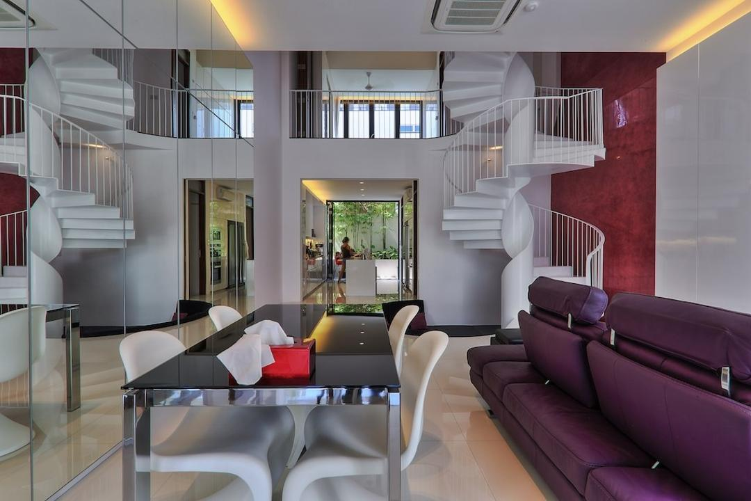 Siglap Rise, EZRA Architects, Modern, Living Room, Landed, Concealed Lighting, Concealed Light, False Ceiling, Purple Sofa, Spiral Stairs, Spiral Staircase, Winding Staircase, White Chair, Dining Table, Furniture, Table, Chair, Couch, Indoors, Interior Design, Room