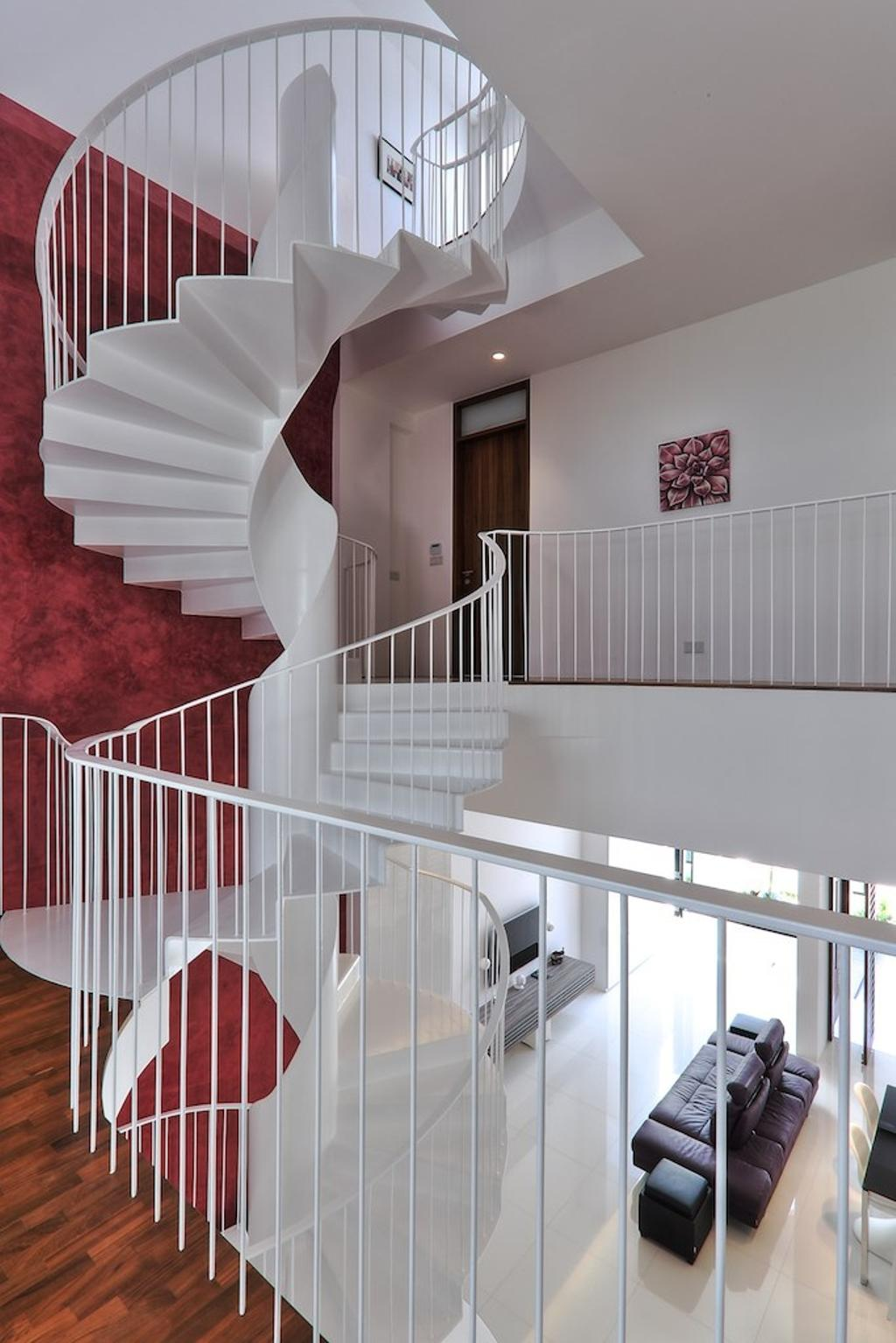 Modern, Landed, Siglap Rise, Architect, EZRA Architects, Wooden Flooring, Parquet, Spiral Staircase, Spiral Stairs, Winded Stairs, Wallart, Wall Art, White Wall, Grill, Textured Wall, Purple Wall, Banister, Handrail, Staircase