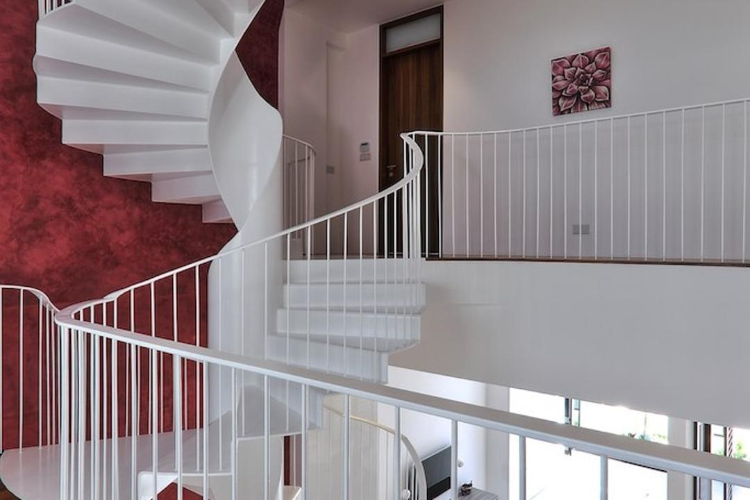 Siglap Rise, EZRA Architects, Modern, Landed, Wooden Flooring, Parquet, Spiral Staircase, Spiral Stairs, Winded Stairs, Wallart, Wall Art, White Wall, Grill, Textured Wall, Purple Wall, Banister, Handrail, Staircase
