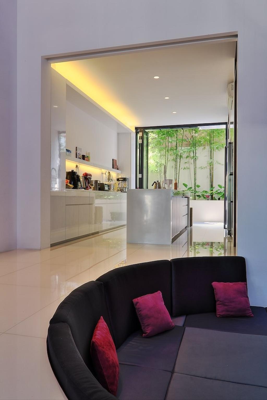 Modern, Landed, Kitchen, Siglap Rise, Architect, EZRA Architects, Concealed Lighting, White Cabinet, Kitchen Cabinet, Concealed Light, Kitchen Island, Curved Sofa, Purple Pillow, Door, Folding Door