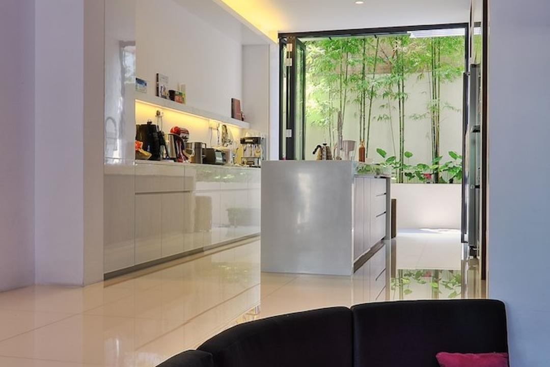 Siglap Rise, EZRA Architects, Modern, Kitchen, Landed, Concealed Lighting, White Cabinet, Kitchen Cabinet, Concealed Light, Kitchen Island, Curved Sofa, Purple Pillow, Door, Folding Door