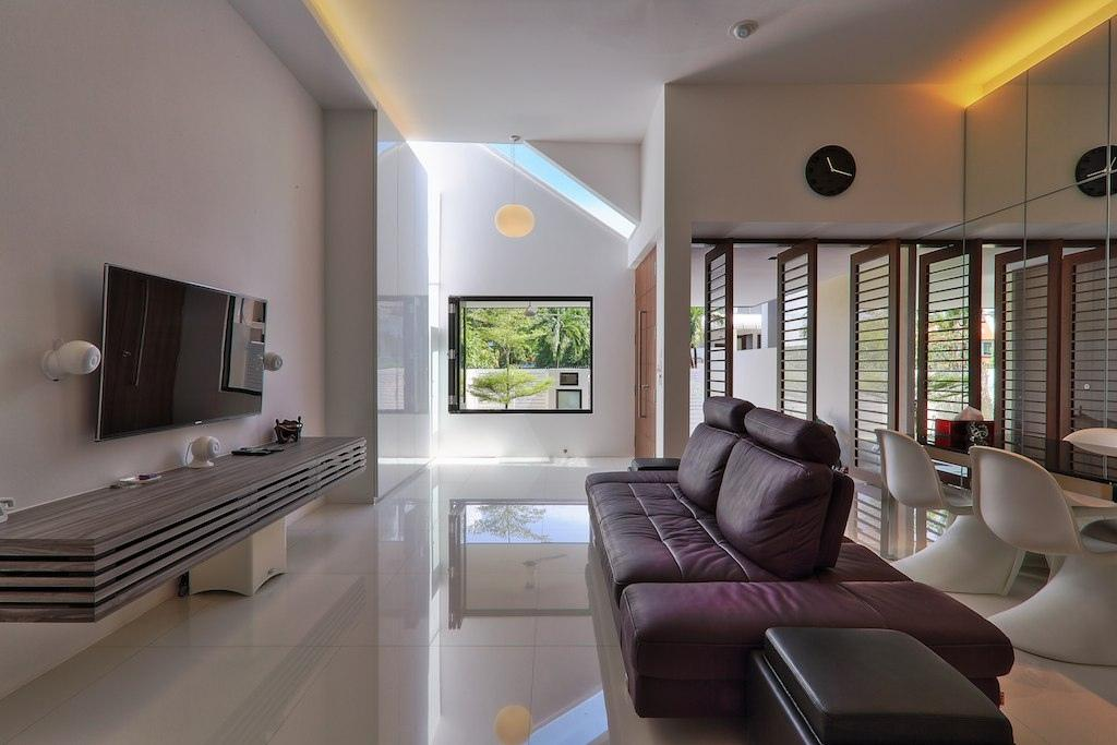 Modern, Landed, Living Room, Siglap Rise, Architect, EZRA Architects, Tv Console, Concealed Lighting, Concealed Light, Wall Clock, Hanging Light, Pendant Light, Purple Sofa, White Wall, White Walls, Chair, Furniture, Couch