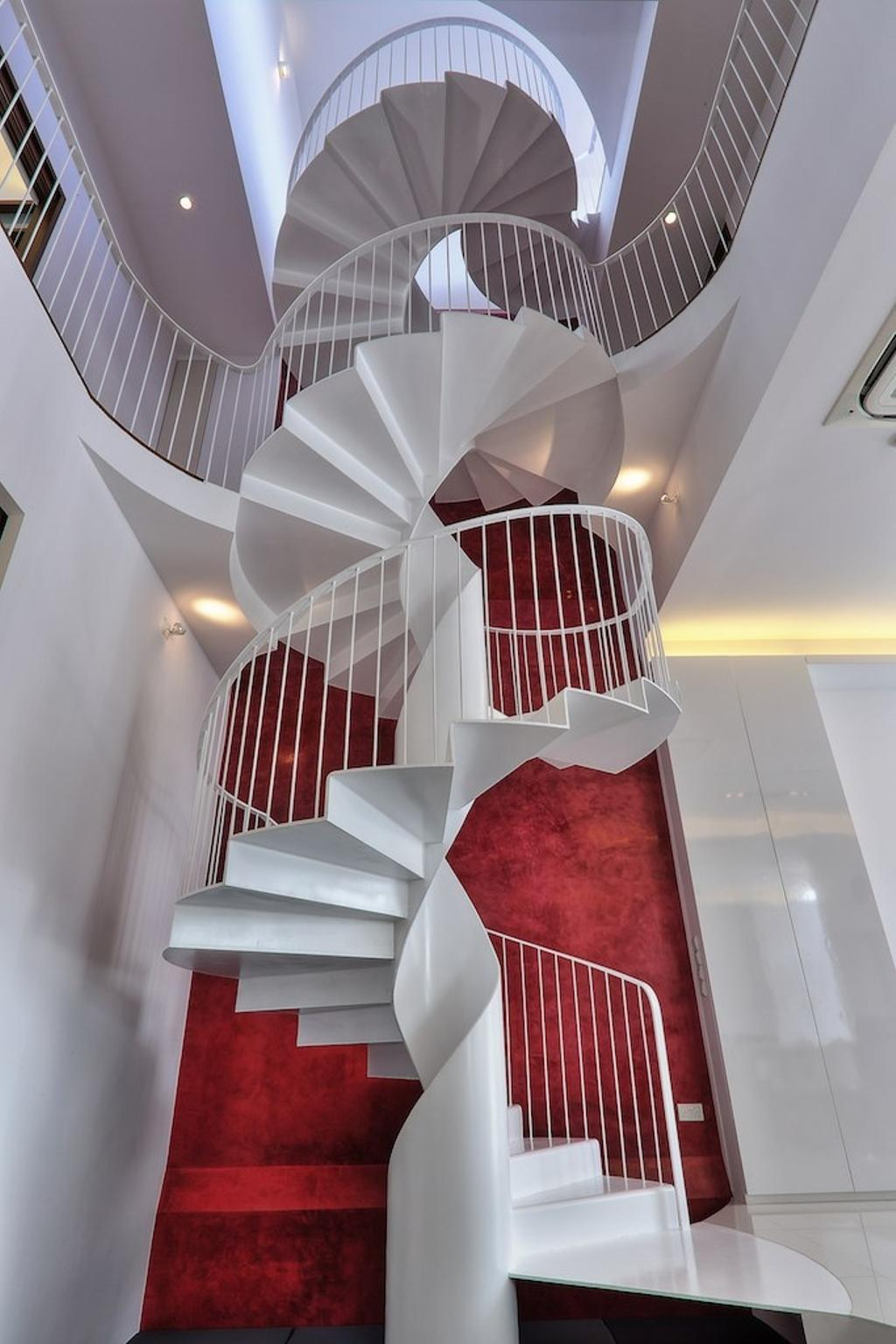 Modern, Landed, Siglap Rise, Architect, EZRA Architects, Textured Wall, Spiral Stairs, Spiral Staircase, Winded Stairs, White Stairs, White Staircase, Concealed Lighting, Concealed Light, Banister, Handrail, Staircase