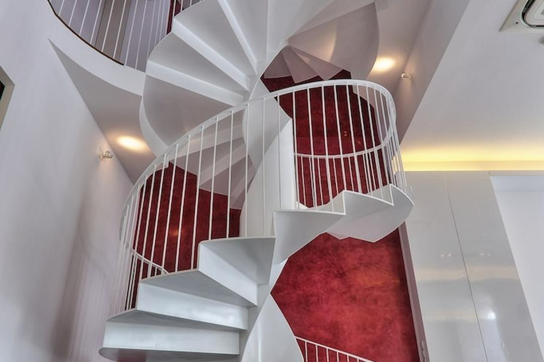 Siglap Rise, EZRA Architects, Modern, Landed, Textured Wall, Spiral Stairs, Spiral Staircase, Winded Stairs, White Stairs, White Staircase, Concealed Lighting, Concealed Light, Banister, Handrail, Staircase