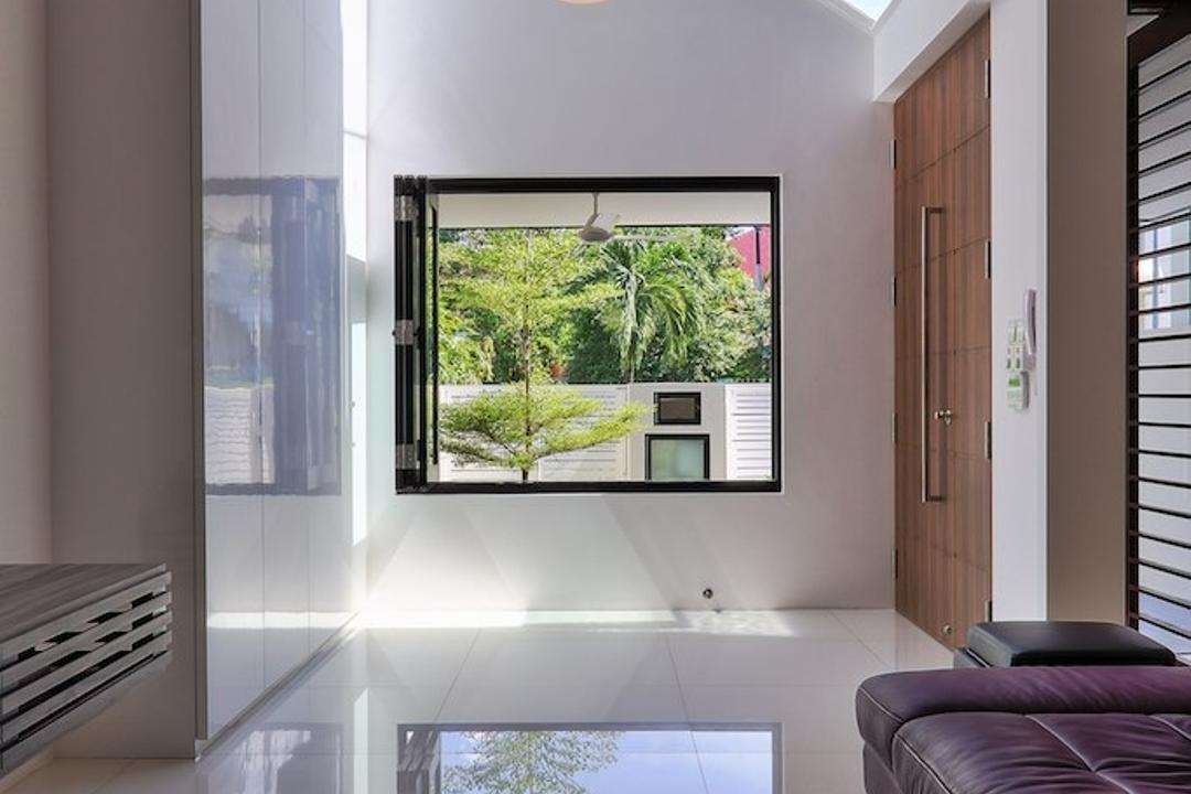 Siglap Rise, EZRA Architects, Modern, Living Room, Landed, Hanging Light, Pendant Light, Wooden Door, Purple Sofa, Concealed Lighting, Concealed Light, White Tiles, Door, Sliding Door, Balcony