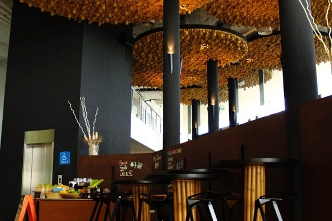 Wavehouse Sentosa, EZRA Architects, Contemporary, Commercial, Bar Stool, Counter Stool, High Chair, Wooden Flooring, Parquet, False Ceiling, High Ceiling