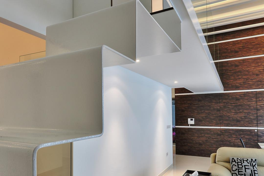 Coastal Breeze Apartment, EZRA Architects, Contemporary, Living Room, Landed, White Stairway, White Wall, Wooden Laminate, Laminated Wall, Marble Floor, Sofa, Small Table, Indoors, Interior Design, Molding, Banister, Handrail