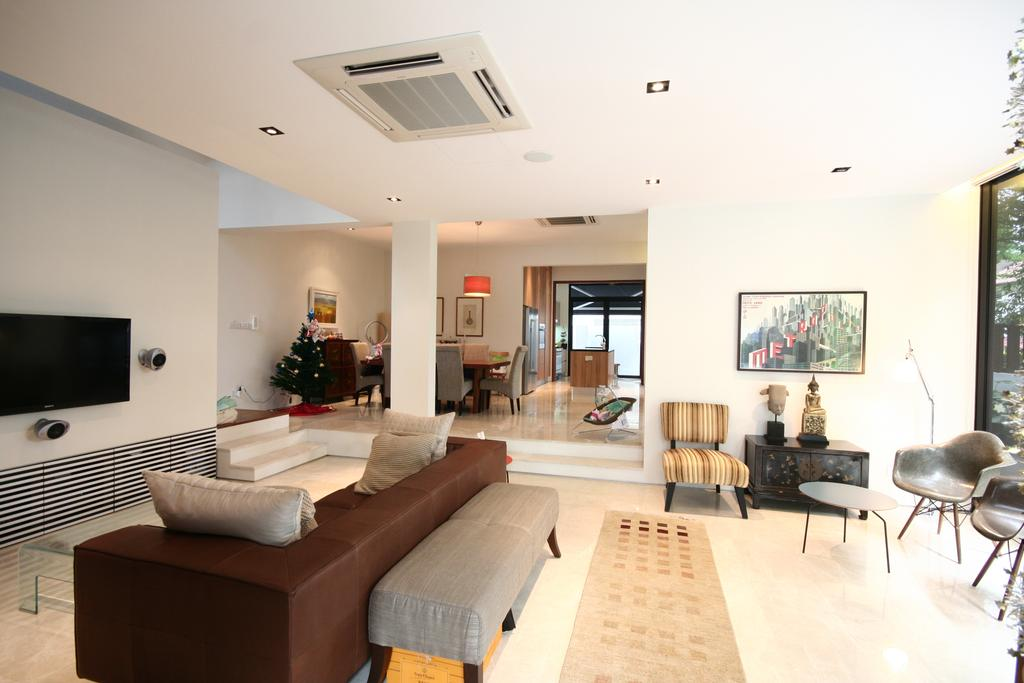 Contemporary, Landed, Living Room, Tua Kong Place, Architect, EZRA Architects, Sofa, Display, Wall Portrait, Flatscreen Tv, Brown Sofa, Grey Bench, Gray Bench, Steps, Couch, Furniture, Indoors, Room