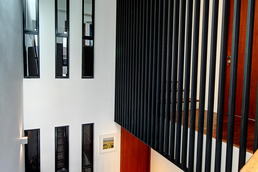 Tua Kong Place, EZRA Architects, Contemporary, Landed, High Ceiling, Wooden Flooring, Wooden Floor, Brown Floor, Brown Railing, Windows, Black Cabinets