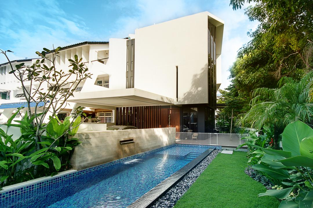 Tua Kong Place, EZRA Architects, Contemporary, Landed, Exterior View, Garden, Plants, Grass Patch, Indoor Pool, House Pool, Private Pool, Building, House, Housing, Villa, Backyard, Outdoors, Yard