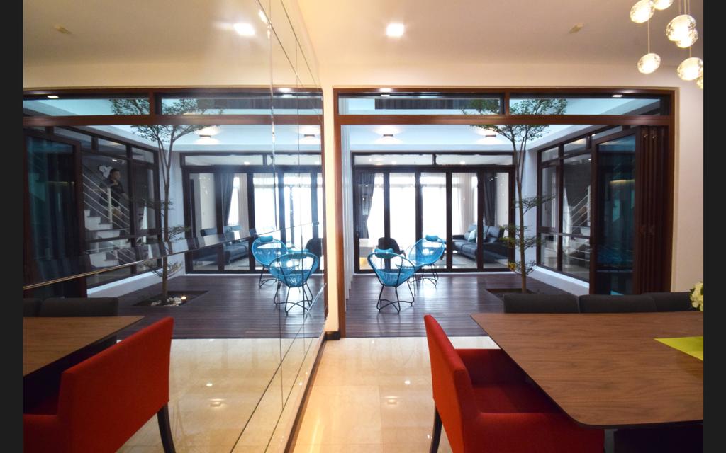 Modern, Landed, Semi D @ Kiara View, Interior Designer, The Grid Studio, Contemporary, Door, Revolving Door, Chair, Furniture, Plywood, Wood, Dining Table, Table
