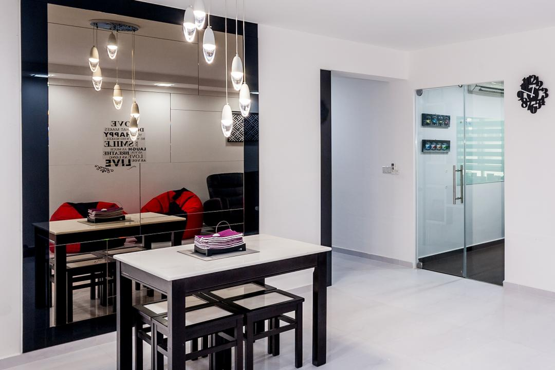 Anchorvale Street (Block 331A), Le Interi, Contemporary, Dining Room, HDB, Hanging Lights, White Floor, Marble Floor, White Ceiling, White Wall, Dining Table, Full Length Mirror, Furniture, Table, Indoors, Interior Design, Room