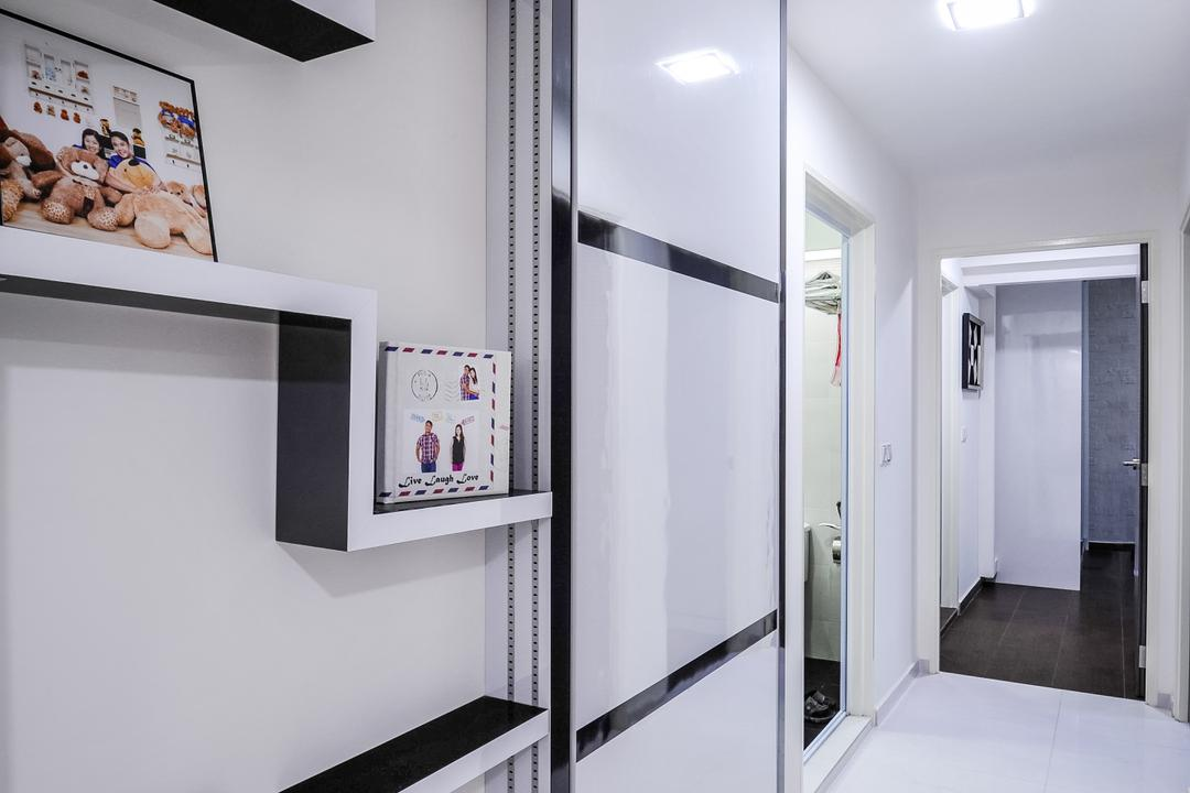 Anchorvale Street (Block 331A), Le Interi, Contemporary, HDB, Wall Shelf, Wall Shelves, White Flooring, White Floor, Recessed Lights, Recessed Lighting, Wall Portrait, Portraits, Monochrome Shelves