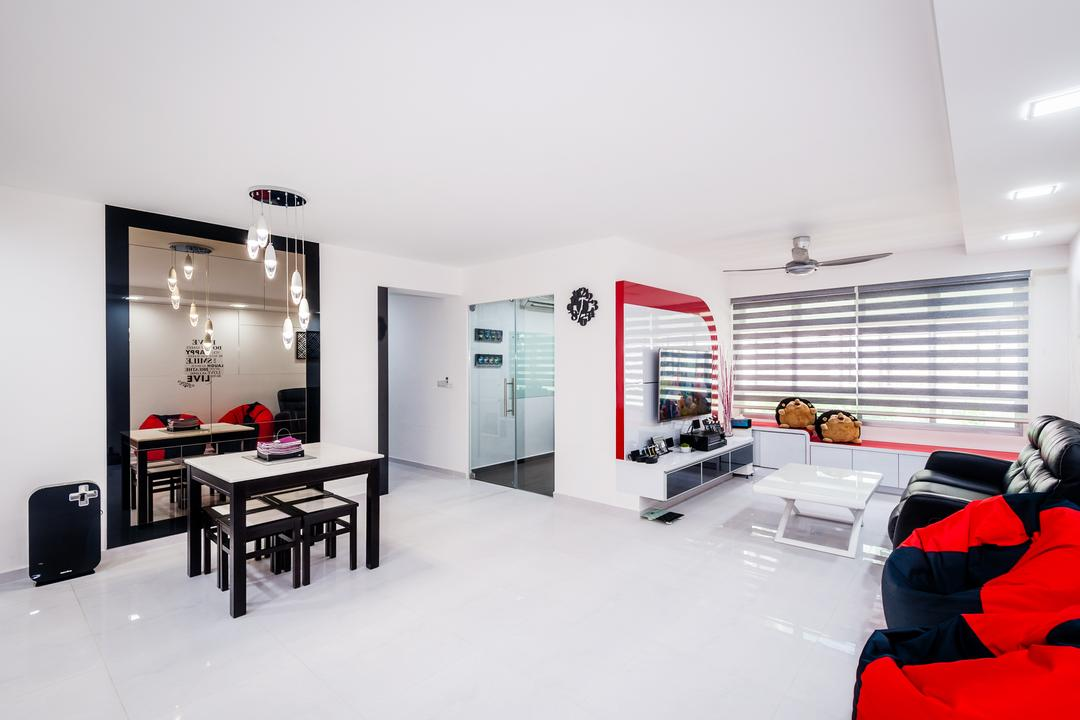 Anchorvale Street (Block 331A), Le Interi, Contemporary, Living Room, HDB, Recessed Lights, Blinds, White Flooring, White Wall, Dining Table, Dining Chairs, Bean Bags, Full Length Mirror, Mirror, Hanging Lights, Furniture, Table, Door, Sliding Door