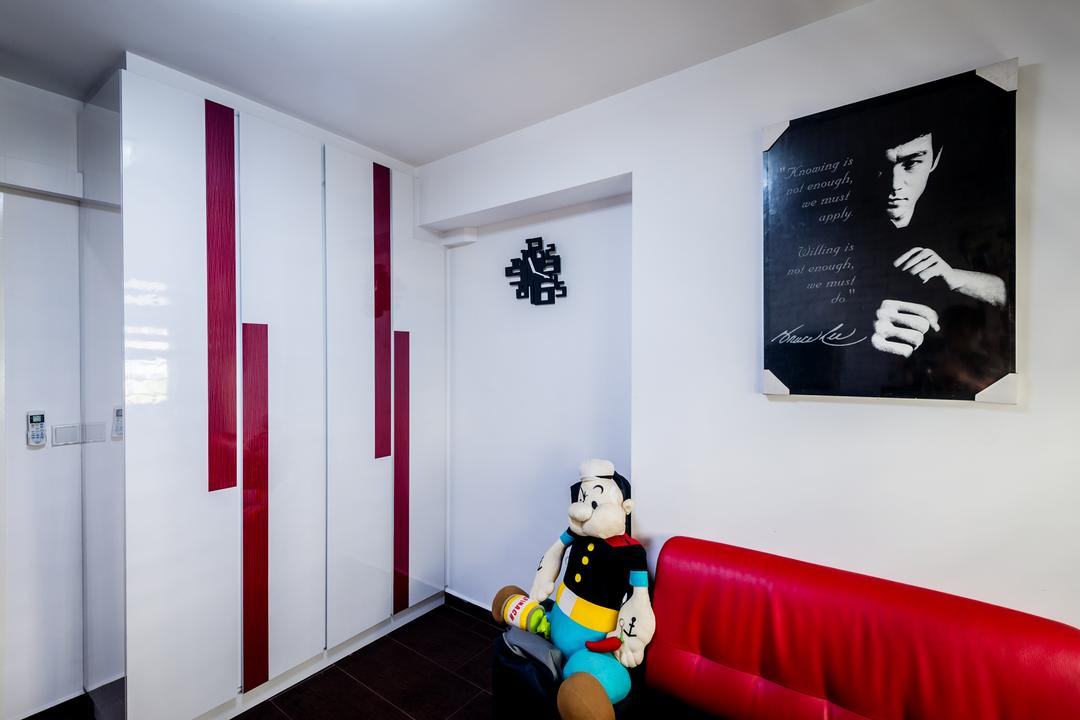 Anchorvale Street (Block 331A), Le Interi, Contemporary, HDB, Wall Portrait, Toy Display, Red Sofa, White Cabinets, Bedroom, Indoors, Interior Design, Room, Closet, Furniture, Wardrobe, Poster