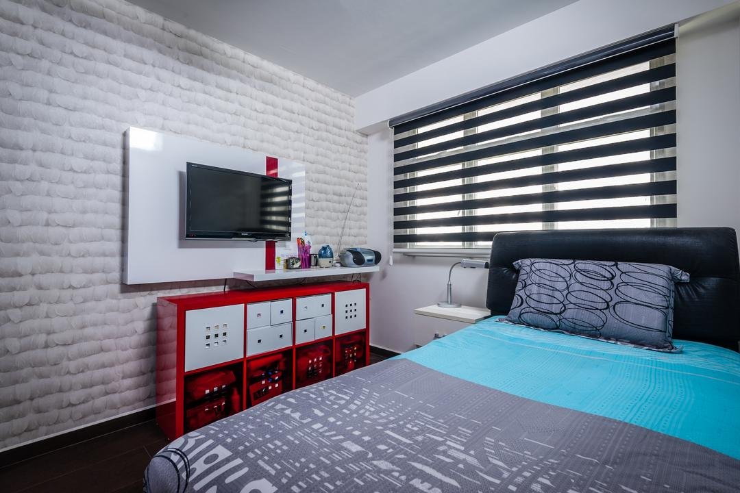 Anchorvale Street (Block 331A), Le Interi, Contemporary, Bedroom, HDB, Brick Wall, White Brick Wall, Red Shelf, Flatscreen Tv, Wall Tv, Wall Mount Tv, Blinds, Black Cushioned Headboard, Cushioned Headboard, Wall Shelf, Bed, Furniture, Indoors, Interior Design, Room