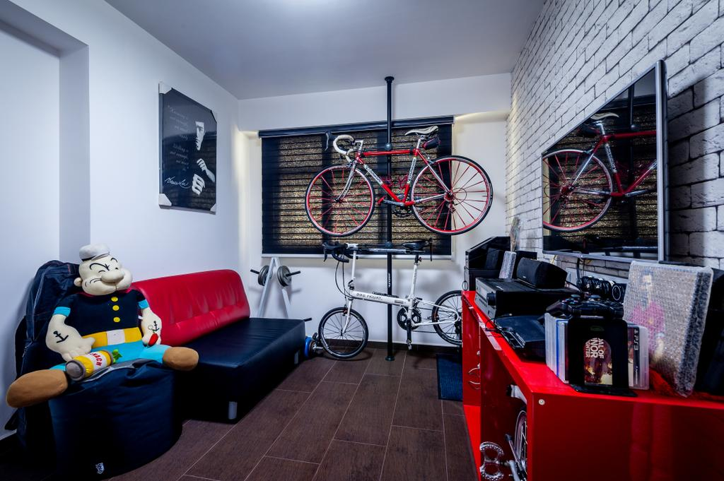 Contemporary, HDB, Anchorvale Street (Block 331A), Interior Designer, Le Interi, Brick Wall Design, Brown Flooring, Wall Portrait, Wall Ar, Red Sofa, Toy Display, Bicycle Rack, Indoor Bicycle Rack, Red Shelf, Red Display Shelf, Flatscreen Tv, Couch, Furniture, Bicycle, Bike, Transportation, Vehicle