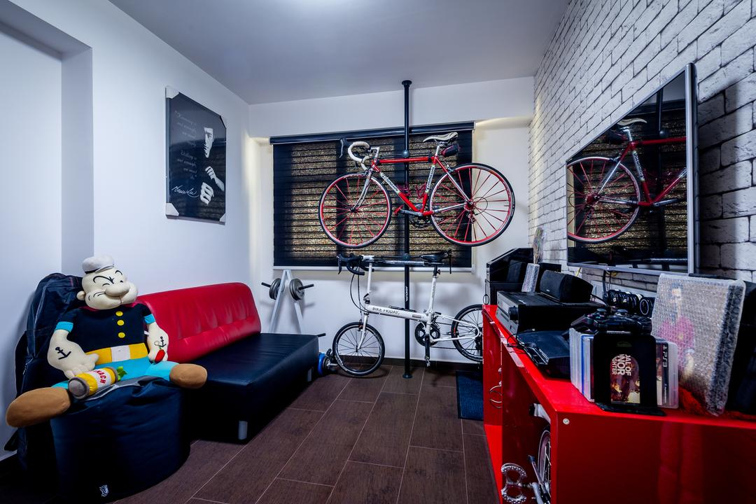 Anchorvale Street (Block 331A), Le Interi, Contemporary, HDB, Brick Wall Design, Brown Flooring, Wall Portrait, Wall Ar, Red Sofa, Toy Display, Bicycle Rack, Indoor Bicycle Rack, Red Shelf, Red Display Shelf, Flatscreen Tv, Couch, Furniture, Bicycle, Bike, Transportation, Vehicle