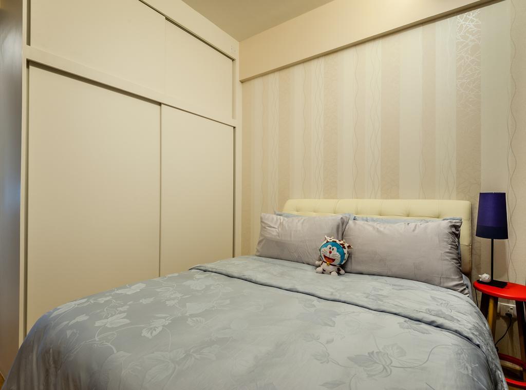 Modern, Condo, Bedroom, 70 Lorong Telok Kurau, Interior Designer, Le Interi, Wallpaper, Cream Colored, Cream Colour, Cabinet, Cushioned Headboard, Bedside Lamp, Chair, Furniture
