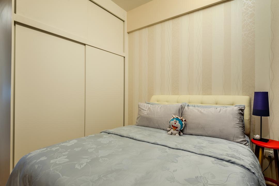 70 Lorong Telok Kurau, Le Interi, Modern, Bedroom, Condo, Wallpaper, Cream Colored, Cream Colour, Cabinet, Cushioned Headboard, Bedside Lamp, Chair, Furniture