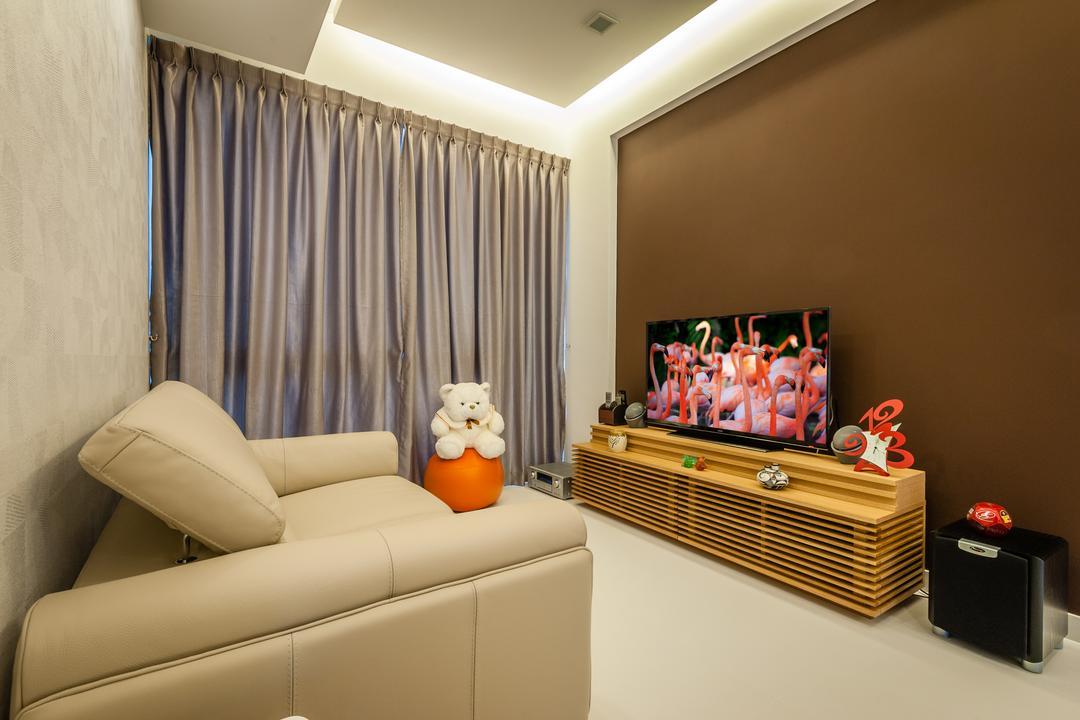 70 Lorong Telok Kurau, Le Interi, Modern, Living Room, Condo, False Ceiling, White Floor, Brown Wall, Curtains, Tv Shelf, Flatscreen Tv, Concealed Lighting, Conceal Lights, Sofa, Couch, Furniture, Indoors, Interior Design