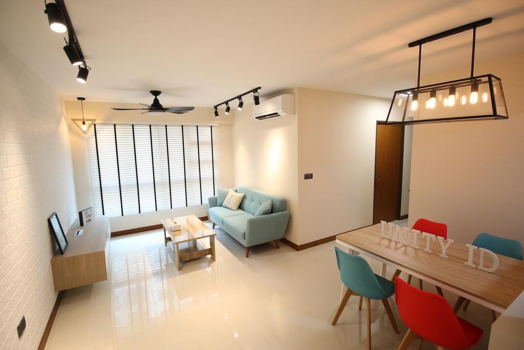 Minimalistic, HDB, Living Room, Compassvale Crescent, Interior Designer, Unity ID