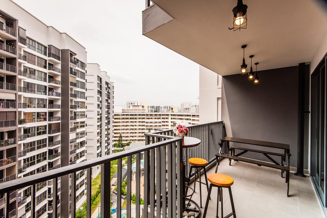 Bedok Reservoir Crescent (Block 748C), Le Interi, Contemporary, Balcony, HDB, Balcony View, Grills, Stool, Stools, Round Stool, Round Table, Bench, Bench Seats, Hanging Lights, Hanging Lantern, Pendant Light, Chair, Furniture, Bar Stool