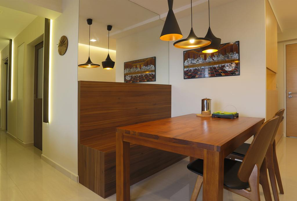 Contemporary, HDB, Dining Room, Bedok Reservoir Crescent (Block 747), Interior Designer, Voila, Pendant Lights, Wooden Table, Wooden Chair, Wooden Bench, Mirror, Indoors, Interior Design, Room, Dining Table, Furniture, Table