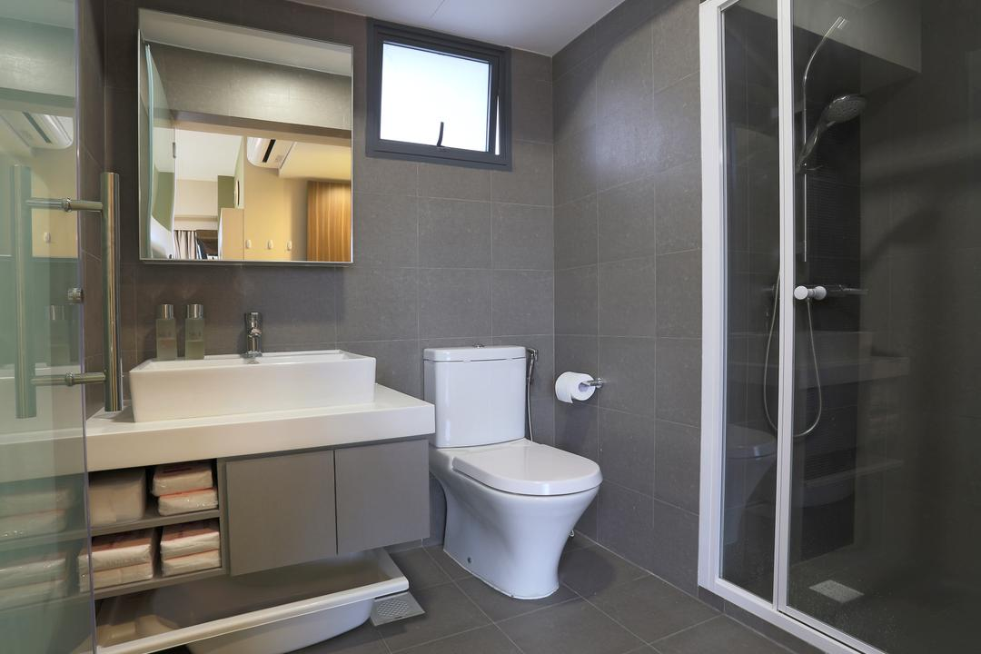 Bedok Reservoir Crescent (Block 747), Voila, Contemporary, Bathroom, HDB, Grey Wall, Gray Wall, Grey Floor, Shower Doors, Mirror, Mirror Cabinet, White Basin, Glass Doors, Gray Floor, Toilet, Indoors, Interior Design, Room