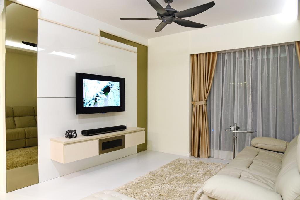 Modern, HDB, Living Room, Dawson Sky Terrace, Interior Designer, DS 2000 Interior & Design, Electronics, Monitor, Screen, Tv, Television, Entertainment Center