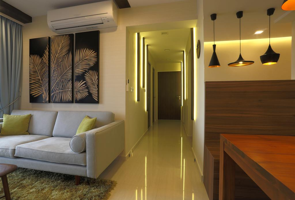 Contemporary, HDB, Living Room, Bedok Reservoir Crescent (Block 747), Interior Designer, Voila, Pendant Lights, Wooden Bench, Dining Table, Dining Bench, Wooden Table, Wall Portrait, Green Carpet, Sofa, Couch, Furniture, Indoors, Interior Design
