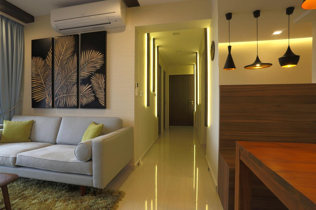 Bedok Reservoir Crescent (Block 747), Voila, Contemporary, Living Room, HDB, Pendant Lights, Wooden Bench, Dining Table, Dining Bench, Wooden Table, Wall Portrait, Green Carpet, Sofa, Couch, Furniture, Indoors, Interior Design